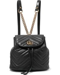 Gucci Leather Marmont Matelass Drawstring Backpack - Black