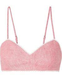 Miguelina Crochet-trimmed Linen Bralette - Pink