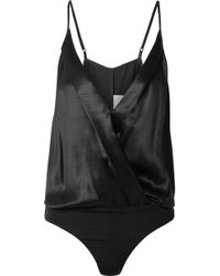 Michelle Mason - Wrap-effect Silk-charmeuse Bodysuit - Lyst