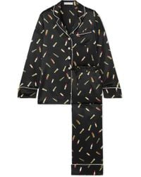 Lyst - Olivia Von Halle Lila Leopard-print Silk-satin Pajama Set 136b39c26