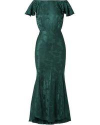 Saloni Daphne Silk-satin Jacquard Maxi Dress - Green