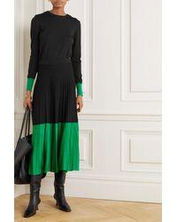 Cefinn Colette Two-tone Pleated Knitted Midi Skirt - Black