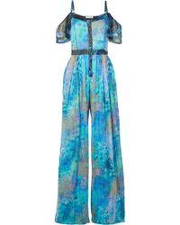Matthew Williamson - Ocean Odyssey Cold-shoulder Printed Silk-chiffon Jumpsuit - Lyst