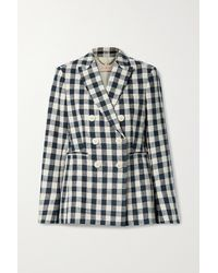 Tory Burch Double-breasted Gingham Linen Blazer - Blue