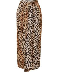 RIXO London Isla Leopard-print Cotton And Silk-blend Pareo - Multicolor