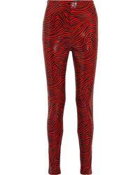 Stand Studio Pernille Teisbaek Tabitha Zebra-print Faux Leather Skinny Trousers - Red