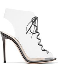 Gianvito Rossi | Helmut 100 Lace-up Pvc And Leather Ankle Boots | Lyst