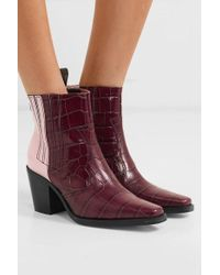 Ganni Callie Panelled Croc-effect And Patent-leather Ankle Boots - Purple