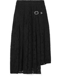 Maje Jalilo Buckled Asymmetric Pleated Guipure Lace Midi Skirt - Black