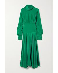Christopher Kane Crystal-embellished Pleated Crepe De Chine Midi Dress - Green