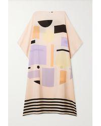 Louisa Parris Robe Midi En Crêpe De Chine De Soie Imprimée Peggy - Multicolore