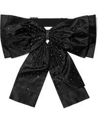 Erdem Embellished Silk Bow Belt - Black