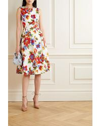 Carolina Herrera Floral-print Cotton-blend Poplin Dress - White