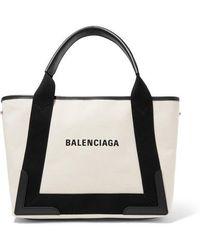 Balenciaga Sac En Toile À Finitions En Cuir Cabas Small - Blanc