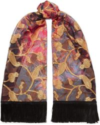 Etro - Tasseled Silk-blend Jacquard Scarf - Lyst