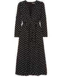 Alessandra Rich Polka Dot Tea Dress - Black