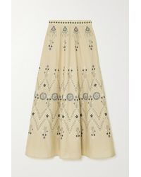 Le Sirenuse Camille Stromboli Embroidered Cotton-voile Maxi Skirt - Natural