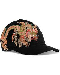 Gucci - Embroidered Cotton-velvet Baseball Cap - Lyst