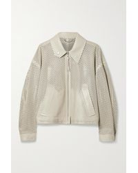 Ferragamo Perforated Leather Bomber Jacket - Natural