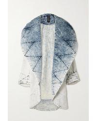 Norma Kamali Quilted Acid-wash Denim Coat - Blue