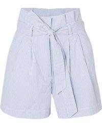 J.Crew Striped Cotton-seersucker Shorts - Blue