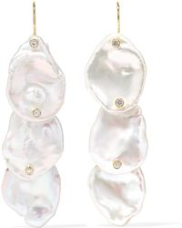 Mizuki - 14-karat Gold, Pearl And Diamond Earrings - Lyst