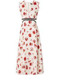 Proenza Schouler Embellished Cutout Floral-print Crepe Midi Dress White