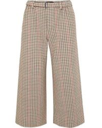 Maje - Cropped Houndstooth Tweed Wide-leg Pants - Lyst