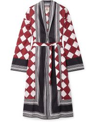 Figue Kali Printed Cotton-voile Robe - Red