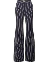La Ligne Striped Crepe Flared Pants - Blue