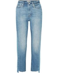 Madewell - The Perfect Summer Frayed High-rise Straight-leg Jeans - Lyst