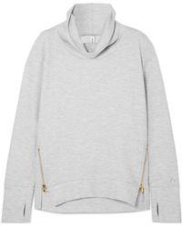 Varley - Clement Zip-embellished Stretch Cotton-blend Jersey Sweatshirt - Lyst