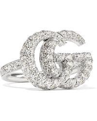 Gucci - 18-karat White Gold Diamond Ring - Lyst