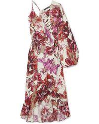 ROTATE BIRGER CHRISTENSEN Asymmetric Ruffled Floral-print Crepe Wrap Dress - Purple