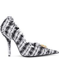 Balenciaga - Knife Embellished Frayed Tweed Court Shoes - Lyst