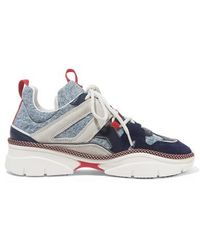 Isabel Marant Kindsay Denim, Suede And Leather Sneakers - Blue