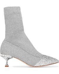 Miu Miu | Glittered Metallic Ribbed-knit Sock Boots | Lyst
