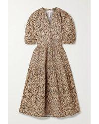 Apiece Apart - Mitte Leopard-print Organic Cotton-poplin Midi Dress - Lyst