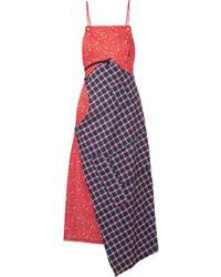 R13 - Asymmetric Paneled Cotton-poplin And Flannel Midi Dress - Lyst