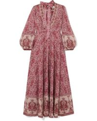 Zimmermann Amari Paisley-print Cotton-voile Maxi Dress - Multicolour
