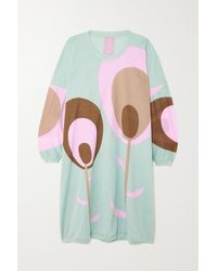 Yvonne S Floral-print Cotton-jersey Dress - Blue