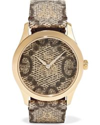 Gucci - Coated-canvas And Gold-tone Watch - Lyst