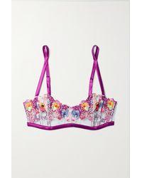 Fleur du Mal Orchid Satin-trimmed Appliquéd Lace Soft-cup Bra - Multicolour