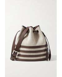 Hunting Season Leather-trimmed Fique Bucket Bag - Brown