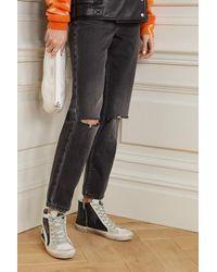 Golden Goose Deluxe Brand Slide Sneakers Aus Veloursleder Mit Glitter-finish In Distressed-optik - Schwarz
