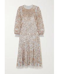 Needle & Thread Mirabelle Ruffled Sequin-embellished Tulle Midi Dress - Blue