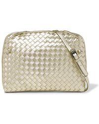 Bottega Veneta - Nodini Small Metallic Intrecciato Leather Shoulder Bag - Lyst