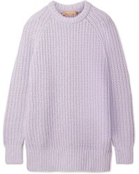 Michael Kors - Ribbed Cashmere And Linen-blend Sweater - Lyst