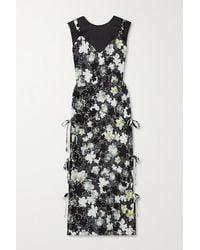 Deveaux Cecil Layered Floral-print Silk Crepe De Chine And Hammered-satin Midi Dress - Black