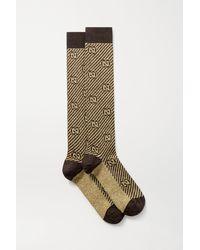 Gucci Socken Aus Jacquard-strick In Metallic-optik - Mettallic